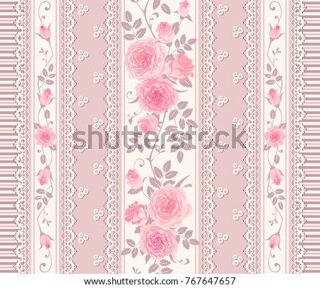 Seamless Pattern With Branches Of Roses And Laces Vintage Floral Background Border Can