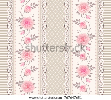 Seamless Pattern With Branches Of Roses And Laces Vintage Floral Background Border Shabby