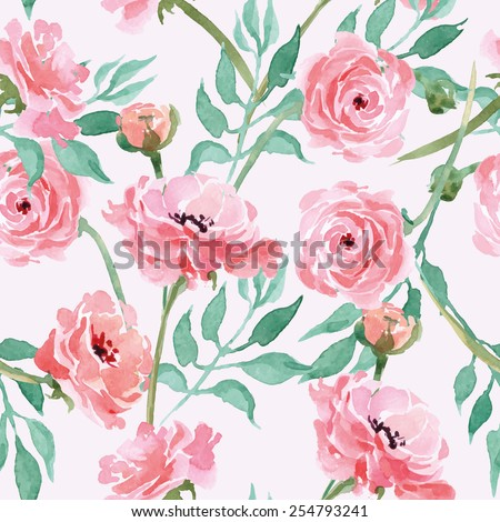 Seamless pattern with branches with Watercolor blooming Ranunculus Vector illustration