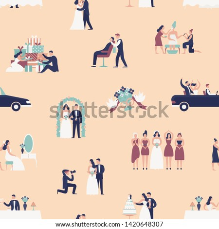 Seamless pattern with bride and groom preparing for wedding ceremony. Backdrop with preparations for marriage and celebration party on light background. Flat cartoon colorful vector illustration.