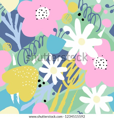 Seamless pattern with bright abstract flowers and leaves. Vector illustration.