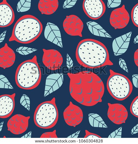 Seamless pattern with bright dragon fruits on dark blue background. Great for textile design.