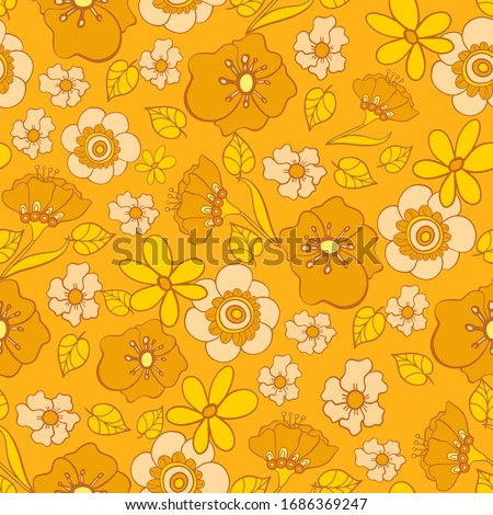 seamless pattern with bright flowers in the style of the 70s Сток-фото ©