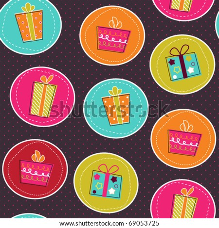 Seamless pattern with bright gift boxes