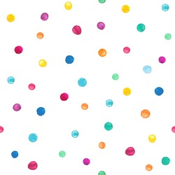 Seamless pattern with bright hand drawn dots