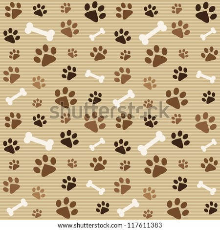 seamless pattern with brown footprints and bones - stock vector