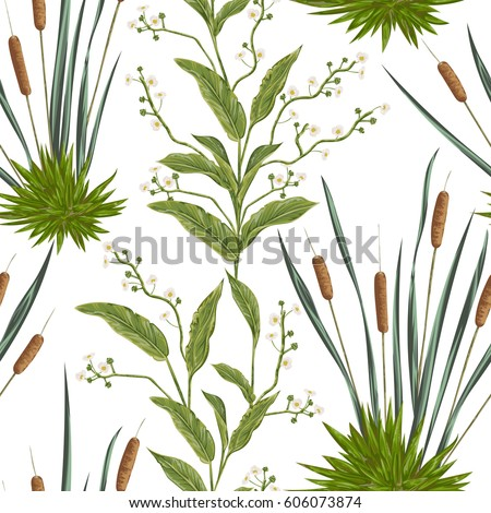 Seamless pattern with bulrush and swamp plants. Vintage hand drawn vector illustration in watercolor style