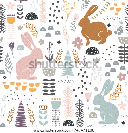 seamless pattern with bunny