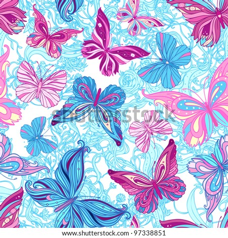 Seamless pattern with butterflies in blue and pink