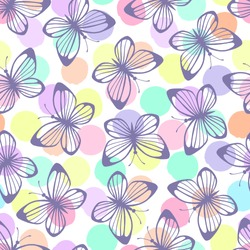Seamless pattern with butterflies on a polka dot background.