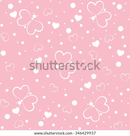 Seamless pattern with butterfly and hearts on pink background