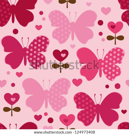 Seamless pattern with butterfly, hearts, flowers. Cute seamless.