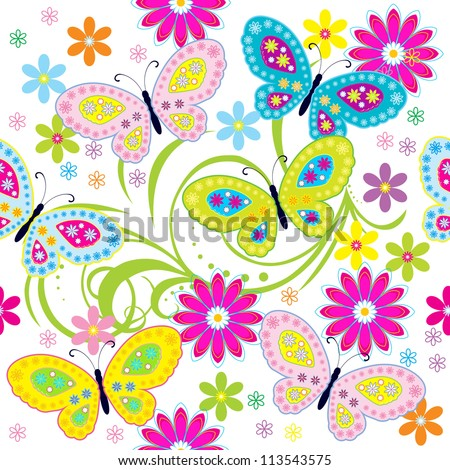 Seamless pattern with butterfly / Seamless pattern with colored butterflies and flowers