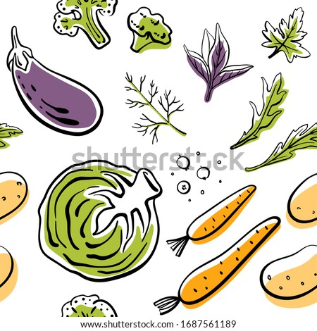 Seamless pattern with cabbage, eggplant, broccoli, carrot, potatoes, herbs. Colorful sketch of healthy vegetables and herbs isolated on white background. Doodle hand drawn vector illustration