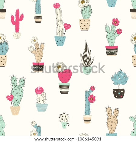 Seamless pattern with cacti in flowers pots. Vector abstract illustration on beige background.