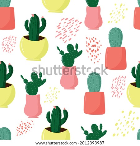 Seamless pattern with cacti, pattern with cacti and sticks, summer theme, cute cacti in pots, cute and cartoon drawing style, soft, pastel colors, vector illustration with home plants Stock photo ©