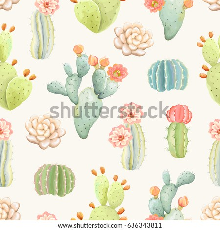 Seamless pattern with cactus, vector illustration in vintage style.