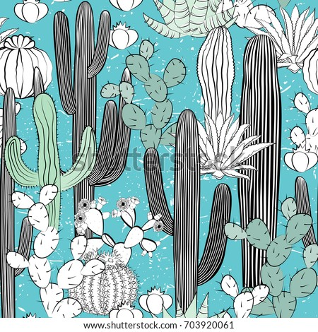 Seamless pattern with cactus. Wild cacti forest. Vector illustration. Pleasant blue and green palette with black and white sketch elements