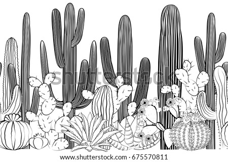 Seamless pattern with cactus. Wild cactus forest with agave, saguaro, and prickly pear