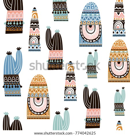 Seamless pattern with cactuse in tribal style. Decorative cactuse background. Vector Illustration