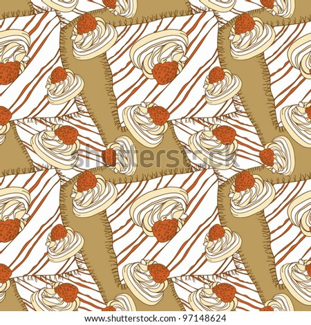 Seamless pattern with cake and strawberries