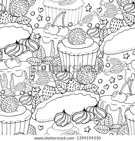 Seamless pattern with cake, cupcake, candy and other dessert with berry. Sweet dessert coloring book. Vector isolated dessert.