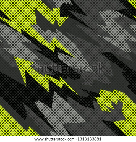 Seamless pattern with camouflage geometric trendy ornament. Racing background for vinyl wrap and decal. Abstract military camo vector texture.