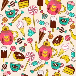 Seamless pattern with candy, donuts sweet icecream and other elements. Hand drawn vector illustration.