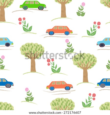 Seamless pattern with cars and trees.