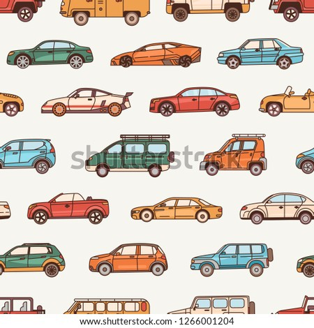 Seamless pattern with cars of various body configuration styles - cabriolet, sedan, pickup, hatchback. Backdrop with modern automobiles of different types. Vector illustration in line art style.
