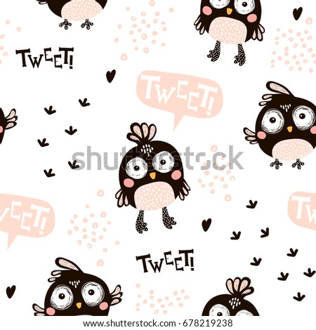 Seamless pattern with cartoon birds in scandinavian style. Creative vector childish background for fabric, textile