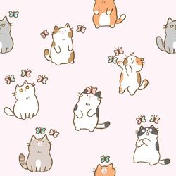 Seamless Pattern with Cartoon Cat and Butterfly Illustration Design on Light Pink Background