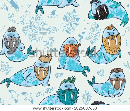 Seamless pattern with cartoon characters of funny walruses with different haircuts, beards and tattoos. Vector illustration