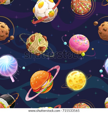 Seamless pattern with cartoon fantasy food planets. Vector fantastic space texture.