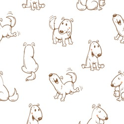 Seamless pattern with cartoon funny dogs on white  background. Cute puppies. Vector image.