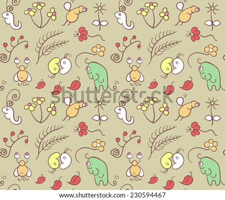 Seamless pattern with cartoon insects. Funny fantastic animals. Illustration with flowers and insects in garden. Can be used for pattern fills, wallpapers, web page, surface textures