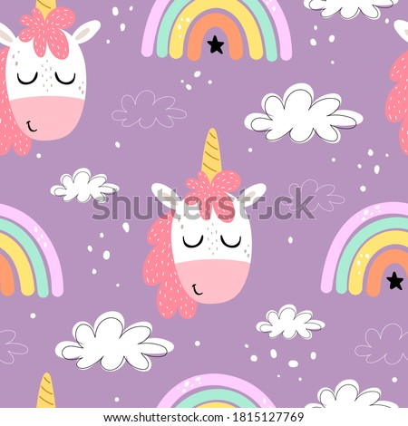 seamless pattern with cartoon unicorns, rainbows, clouds, decor elements on a neutral background. Colorful vector flat style for kids. Animals. hand drawing. baby design for fabric, print, wrapper, te