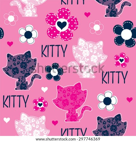 seamless pattern with cat and