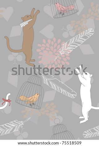 Seamless pattern with cats and birds in cages