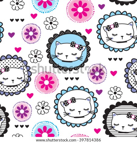 seamless pattern with cats and