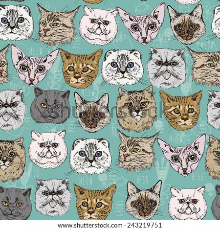 Seamless pattern with cats Siamese, British, Siberian, Persian, Scottish Fold, Maine Coon, Bengal, Sphynx in doodle hipster style. Vintage vector illustration.