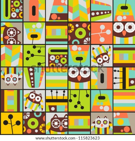seamless pattern with cell owls