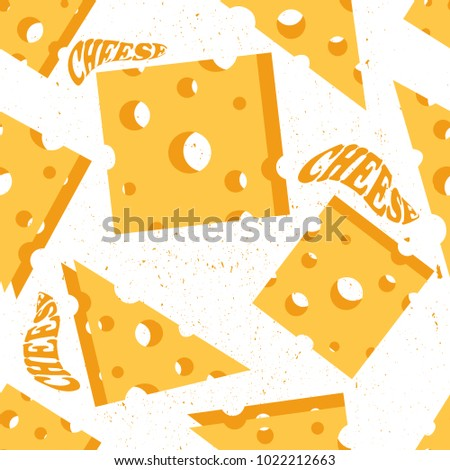Seamless pattern with cheese and english text. Colorful hand drawn illustration, food vector. Design overlapping background with dairy produce. Decorative wallpaper, good for printing