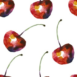 Seamless pattern with cherry in watercolor style.
