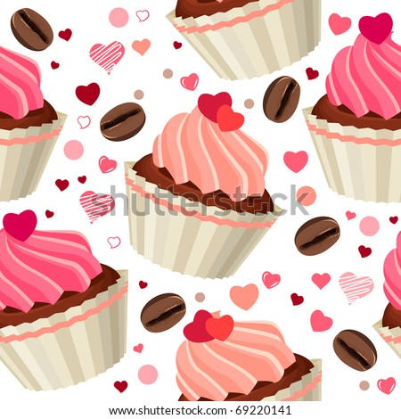 Seamless pattern with chocolates and red hearts