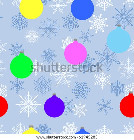 seamless pattern with christmas balls and snowflakes. vector.