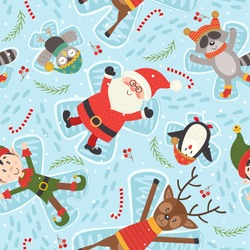 seamless pattern with Christmas characters make snow angel - vector illustration, eps