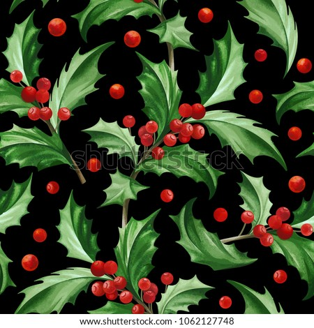 Stock Photo Seamless Pattern with Christmas Symbol - Holly Leaves on Black Background.