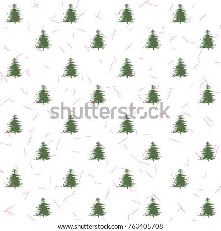 Seamless pattern with christmas trees and small random lines