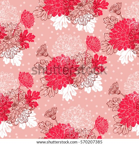Seamless pattern with chrysanthemum flowers. Vector illustration